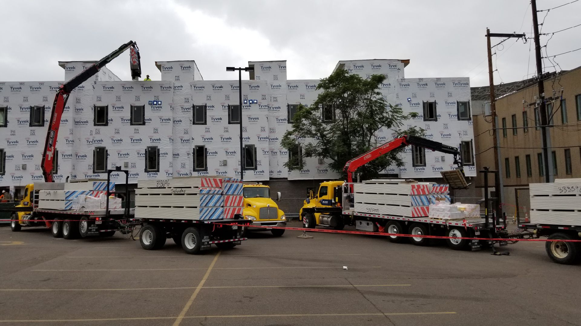 jones heartz trucks delivering drywall